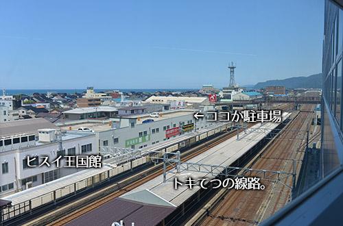 糸魚川駅ホームから見た位置関係